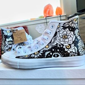 Hand painted leather hi top converse